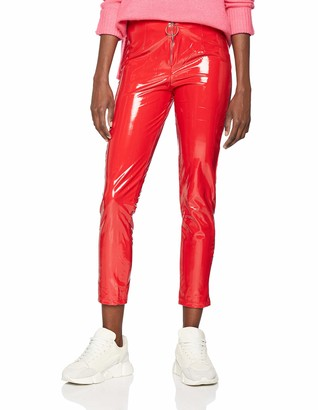 NEON COCO Women's Front Zip Vynil Pant Trouser