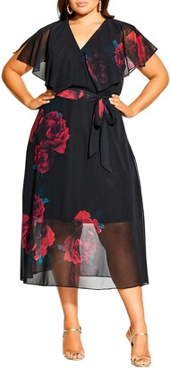 City Chic Romance Floral A-Line Dress