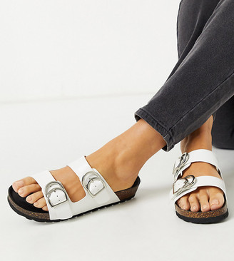 London Rebel wide fit double buckle footbed sandal in white croc