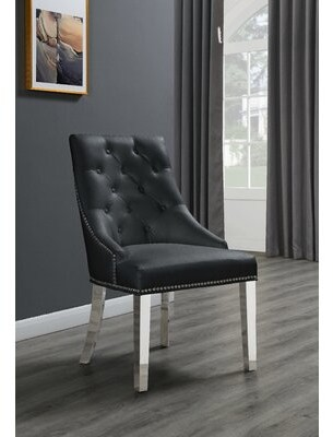 House Of Hamptonâ® Maney Tufted Upholstered Side Chair House of HamptonA Upholstery Color: Black