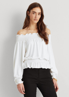 Ralph Lauren Jersey Off-the-Shoulder Top
