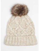 Dorothy Perkins Womens Popcorn Knit Faux Fur Pompom Beanie Hat- Beige
