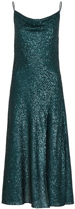 Jonathan Simkhai Teal Draped Sequin Midi Dress
