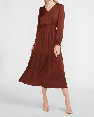 Express Satin Tiered V-Neck Maxi Dress