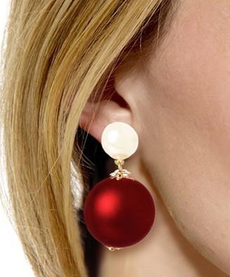 Amrita Singh Women's Earrings Red - Red & Imitation Pearl Drop Earrings