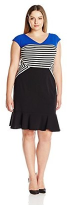 Julia Jordan Women's Plus-Size Striped Dress
