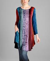 Purple & Blue Vertical Stripe Three-Quarter Sleeve Tunic - Plus