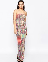Club L Essentials Tube Maxi Dress in Tribal Print