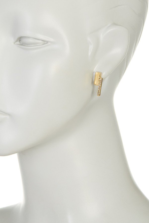 Botkier Square Pave Embellished Bar Stud Earrings