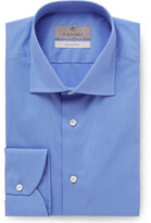 Canali Blue Slim-Fit End-on-End Cotton Shirt