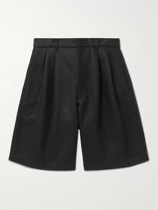 Comme des Garçons Shirt Wide-Leg Pleated Wool Shorts