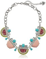 """Betsey Johnson Ocean Drive"""" Pave Crystal Watermelon Necklace, 16"""" + 2"""" Extender"""