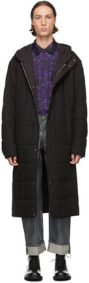 Dries Van Noten Black Quilted Poplin Coat