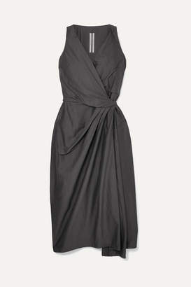 Rick Owens Cotton And Silk-blend Wrap Dress - Navy