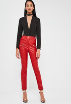 Missguided Red Faux Leather Pants