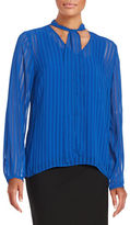 T Tahari Meryl Striped Chiffon Blouse