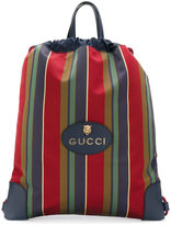 Gucci striped drawstring backpack