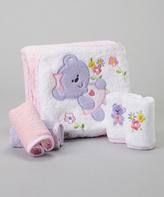 SpaSilk Purple Bear Terry Hooded Towel & Washcloth Set