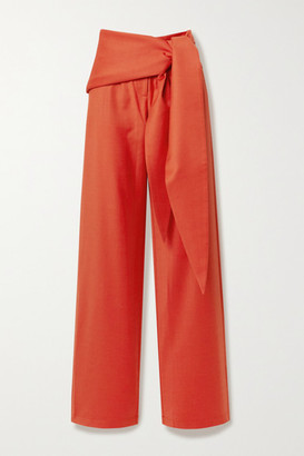 MATÉRIEL Tie-front Wool-blend Straight-leg Pants - Bright orange