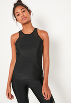 Missguided Active Black Mesh Insert Sports Tank Top