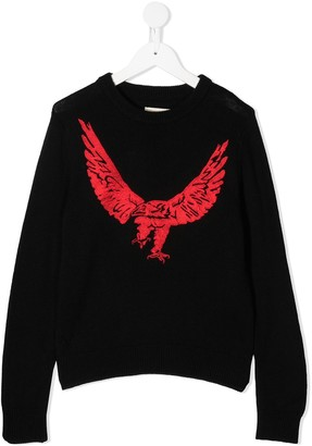 Zadig & Voltaire Kids Eagle-Embroidered Sweater