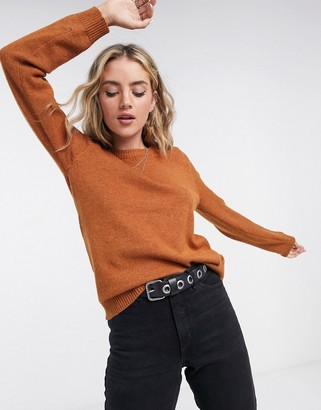 Vila round neck jumper in brown