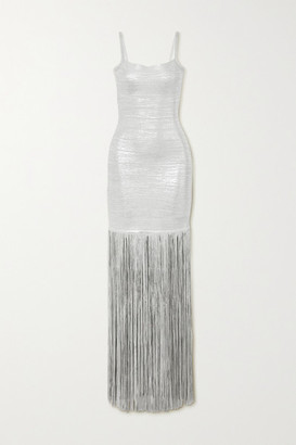 Herve Leger Fringed Metallic Coated-bandage Gown - Silver