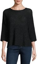 Eileen Fisher 3/4-Sleeve Shimmer Wool-Blend Top, Black, Plus Size