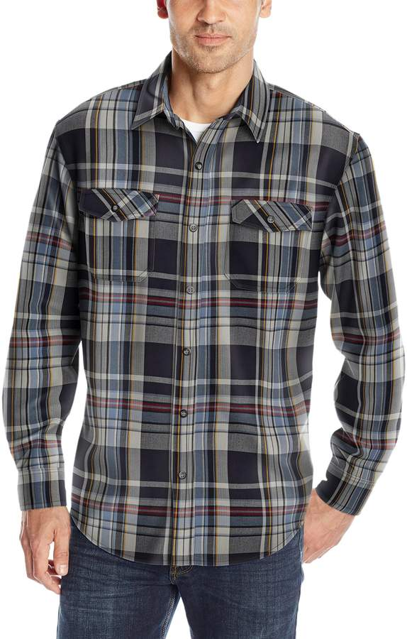 G.H. Bass Men's Mountain Twill Double Pocket Plaid Long Sleeve Shirt