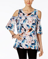 NY Collection Flutter-Sleeve Cold-Shoulder Top