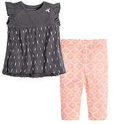 Kids Ikat Flutter Sleeve Organic Cotton Top & Capri Legging Set
