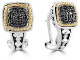 Effy Jewelry Effy 925 Sterling Silver & 18K Yellow Gold Black Diamond Earrings, 0.26 TCW