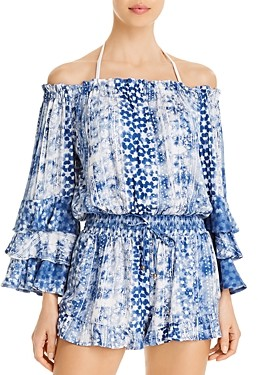 Surf.Gypsy Off-The-Shoulder Printed Romper Swim Cover-Up