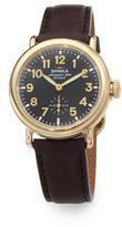 Shinola Runwell Goldtone PVD Stainless Steel & Leather Strap Watch