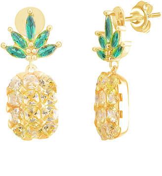 GABIRIELLE JEWELRY 22K Over Silver Cz Pineapple Drop Earrings