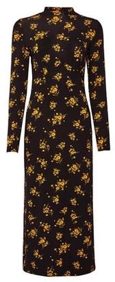 Dorothy Perkins Womens Black And Yellow Floral Print Midi Dress, Black