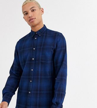 French Connection Tall tonal flannel check shirt-Navy