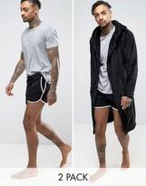 Asos Fleece Robe/Extreme Runner Short 2 Pack Black SAVE