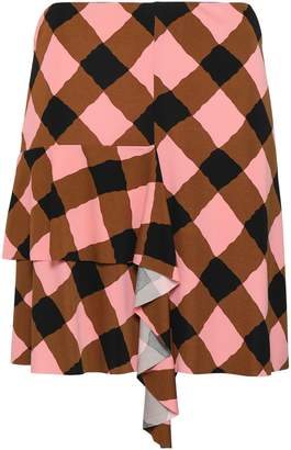 Marni Ruffled Checked Stretch-jersey Mini Skirt