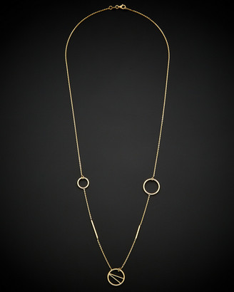 Italian Gold 14K Bars & Multi-Circles Station Necklace