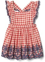 Gap Gingham eyelet flutter dress