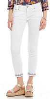 Miss Me Boho Blues Frayed Hem Stretch Ankle Skinny Jeans
