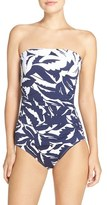 Tommy Bahama Women's Leaf Print Bandeau One-Piece Swimsuit