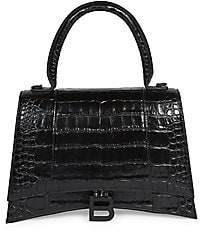 Balenciaga Women's Medium Hourglass Croc-Embossed Leather Top Handle Bag