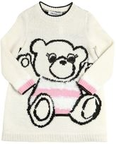 Simonetta Bear Intarsia Wool Blend Sweater Dress