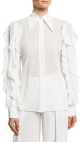 Michael Kors Ruffled-Sleeve Cotton Blouse, White