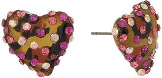 Betsey Johnson Heart Stud Earrings (Leopard) Earring