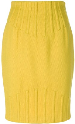 Thierry Mugler Pre Owned Rib Detail Pencil Skirt