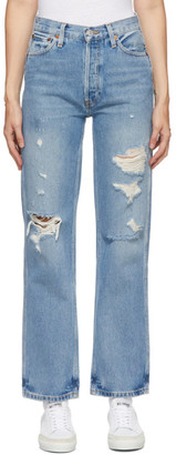 RE/DONE Blue 90s High Rise Loose Jeans