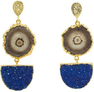 Yaa Yaa London Navy Grey Gemstone Gold Statement Earrings